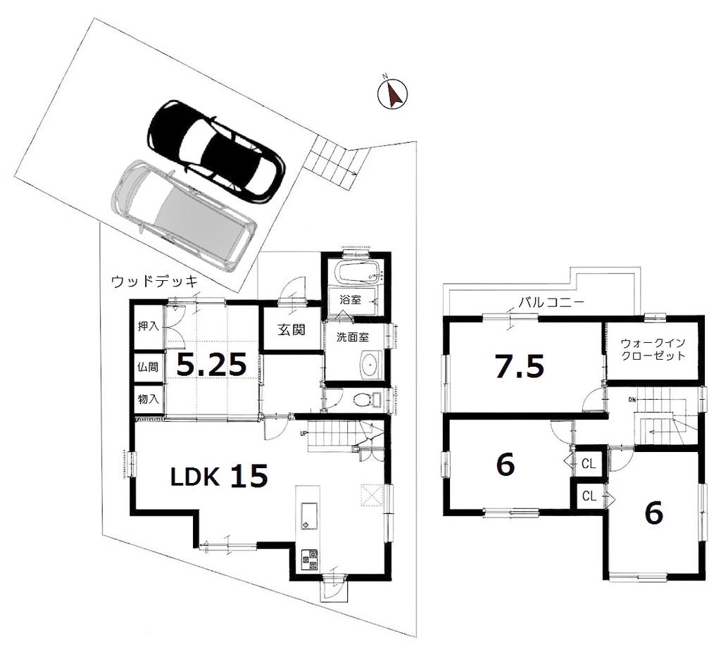 リビング階段天窓付和室有4SLD